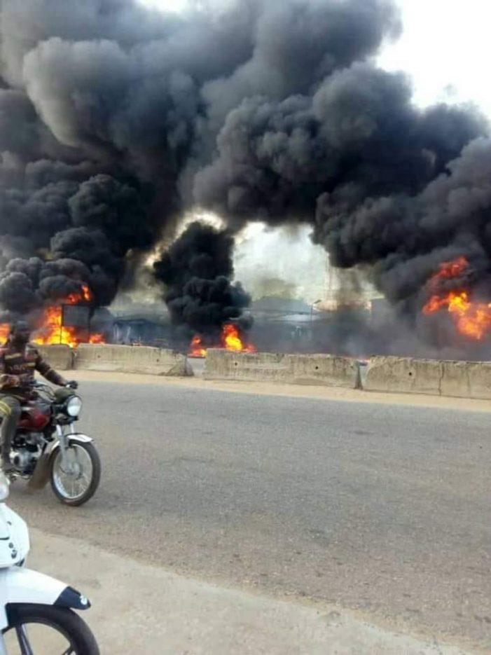 Two burnt to death as Dangote truck caught fire in Kogi