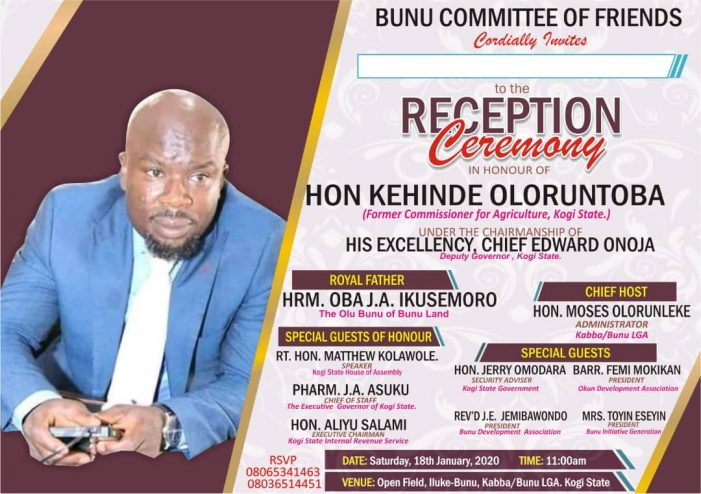 Bunu Committee of Friends to honor Hon, Oloruntoba with a reception