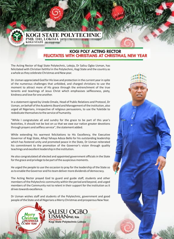 Yuletide: Kogi Poly Acting Rector Pens Special Message to Christians At Xmas